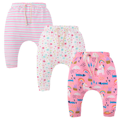 Baby Girl Unicorn Star Stripes Joggers - 3 Pack - Little Kooma