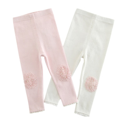 Baby Girl's Leggings w Pearl n Lace Decoration - 0524 - Little Kooma