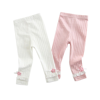 Baby Girl's Leggings w Little Flower Decoration - 0524 - Little Kooma