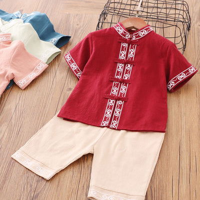 Boys Cheongsam Set Auspicious Cloud Front Buttons - Little Kooma