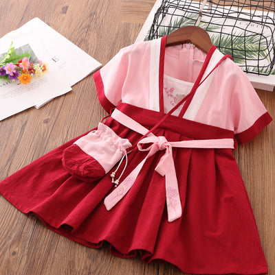 Girls Cotton Splicing Cheongsam w Belt n Bag - Little Kooma