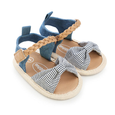 Baby Girl Denim Bowtie Sandals - 0912 - Little Kooma
