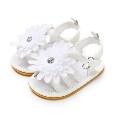 Baby Girl Anti-slip PU Leather Sandal White Chrysanthemum Magic Tape - 0912 - Little Kooma