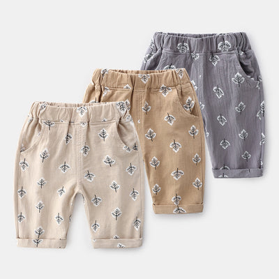Kids Boys Shorts w Leaf Prints Elastic Waist - Little Kooma