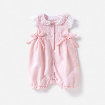 Baby Lace Collar Romper Double Bowties - 0611 - Little Kooma