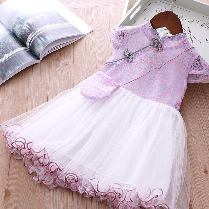 Girls Voile Lace Splicing Cheongsam Dress w Bag