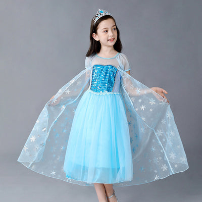 Elsa Dress w Cape Sequin Frozen Costume - Little Kooma