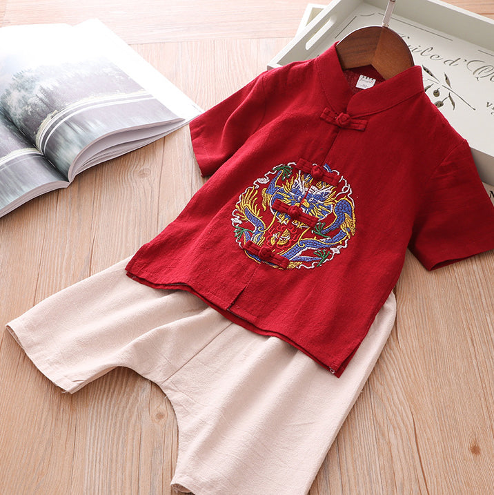 Boys Cheongsam Set Embroidered Dragon Front Buttons