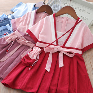 Girls Cotton Splicing Cheongsam w Belt n Bag