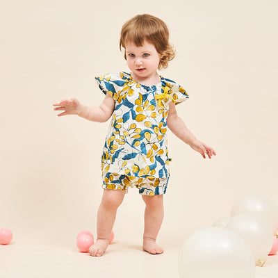 Baby Girl Green & Golden Leaves Top n Shorts Set - 1006 - Little Kooma