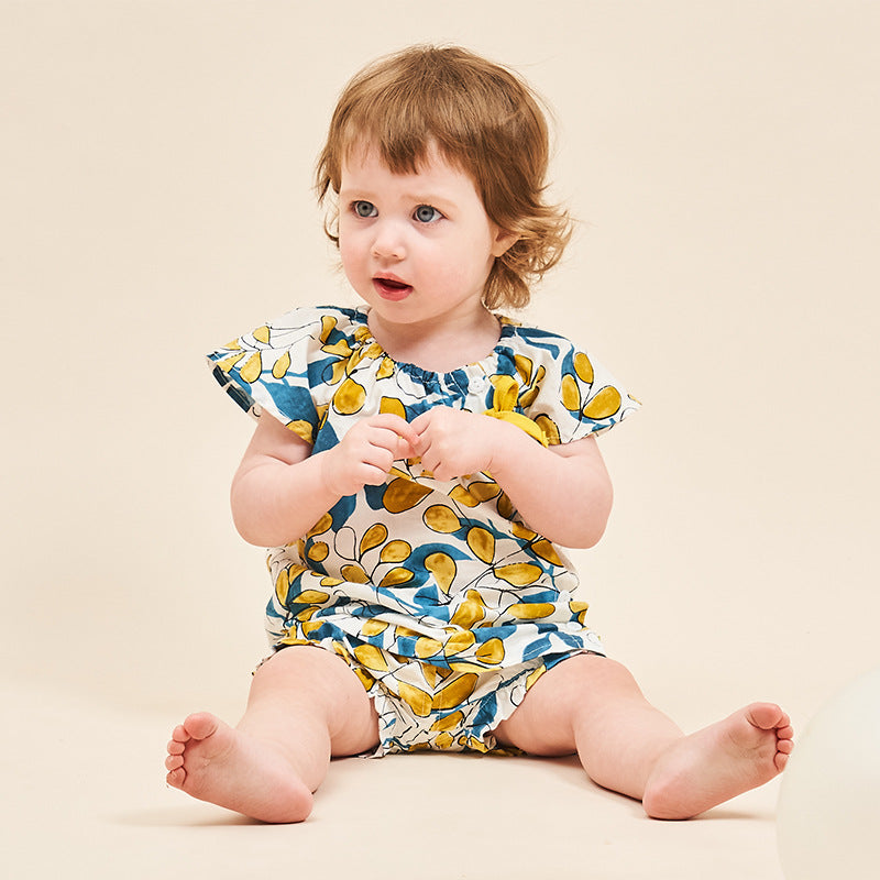 Baby Girl Green & Golden Leaves Set Top + Shorts