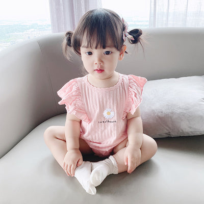 [ZBG07] Baby Girl Ruffled Sleeve Bodysuit w White Flower - Little Kooma