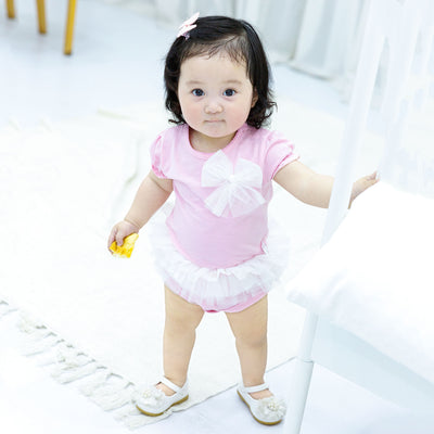 Baby Girl Pink Romper Voile Skirt Big Bowtie - 0611 - Little Kooma