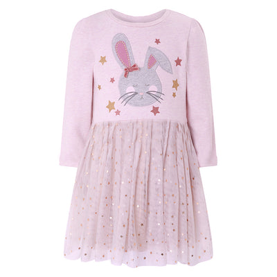 Kids Baby Girl's Pink Long Sleeve Star Voile Dress Embroidered Bunny - 1021 - Little Kooma