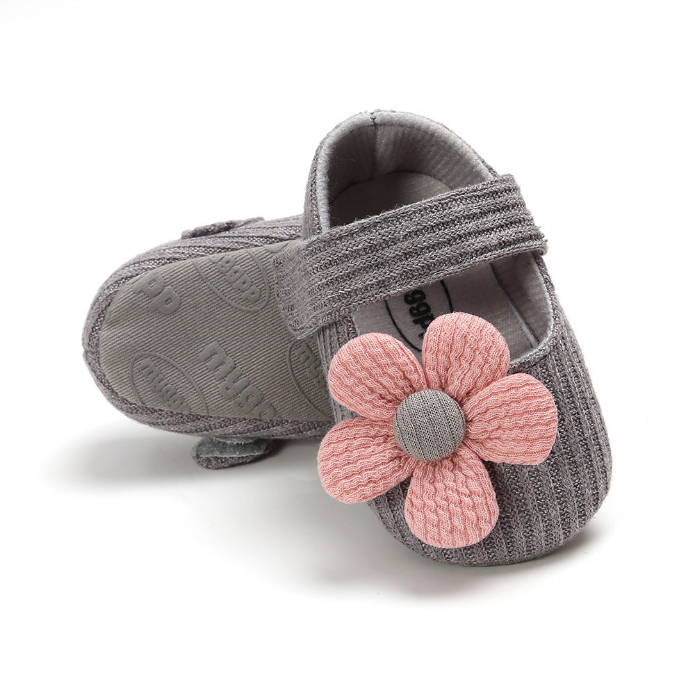 Baby Girl Woolen Covered Flats w Flower - Little Kooma