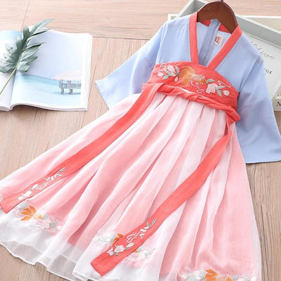 Girls Splicing Voile Cheongsam Blue n Red w Belt n Embroidered Gold Fish - Little Kooma
