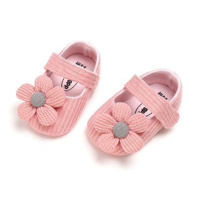 Baby Girl Knit Shoes Pink Flower Magic Tape - 0912 - Little Kooma