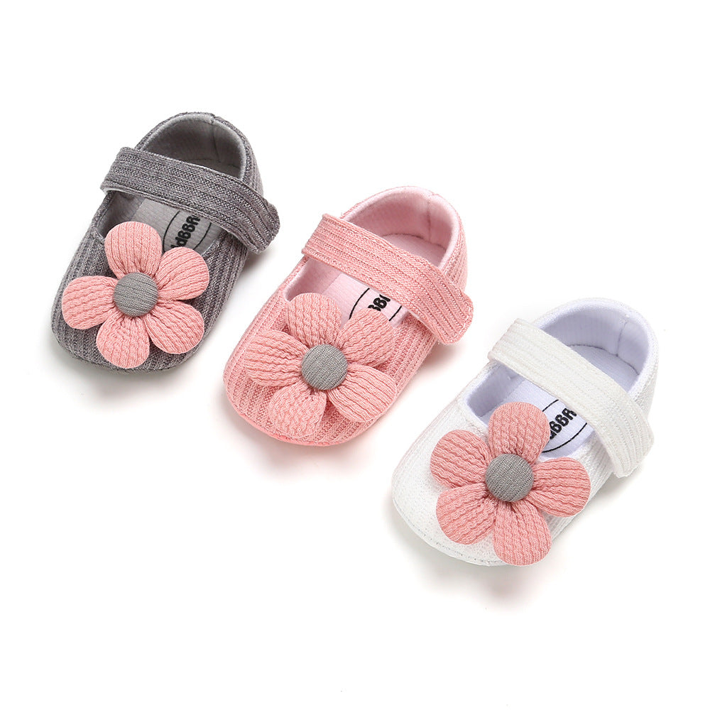 Baby Girl Woolen Covered Flats w Flower