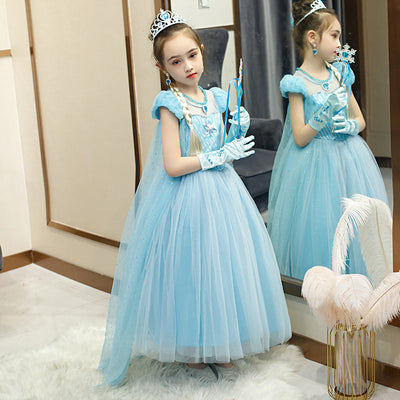 Elsa Dress w Cape Puff Sleeves Frozen Costume - Little Kooma