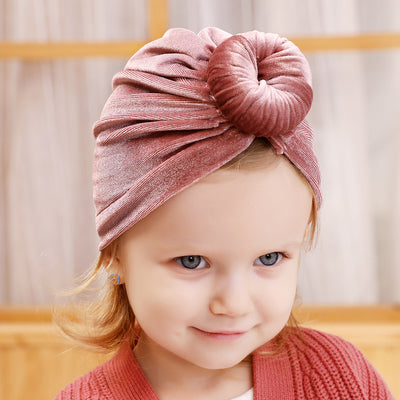 Baby Girl's Velour Turban Hat w Donut - 0816 - Little Kooma