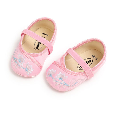 Baby Girl Chinese New Year Shoes Pink w Embroidered Flowers Cheongsam - Little Kooma