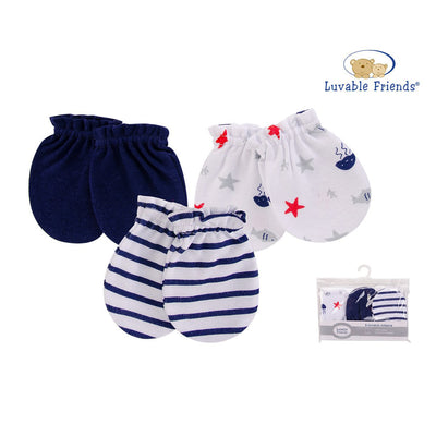 Luvable Friends Baby Scratch Mittens 3 Pairs Pack 00528 - Little Kooma