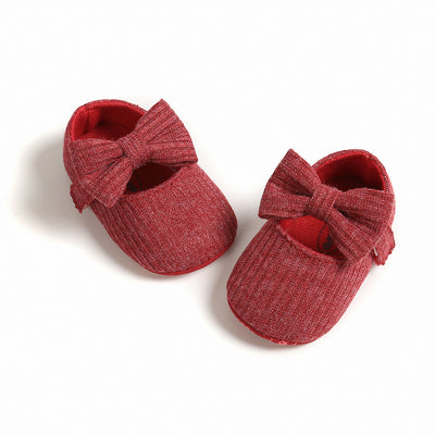 Baby Girl Knit Shoes Bowtie Magic Tape - 0912 - Little Kooma