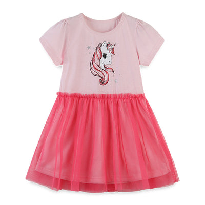 Kids Baby Girl's Splicing Pink n Red Short Sleeve Voile Dress Unicorn Print - 1021 - Little Kooma