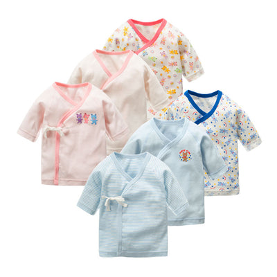 New Born Baby Bear Short Kimono Top Tie-side Shirt 3 Pack - Little Kooma