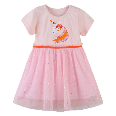Kids Baby Girl's Splicing Pink Short Sleeve Voile Dress Embroidered Unicorn - 1021 - Little Kooma