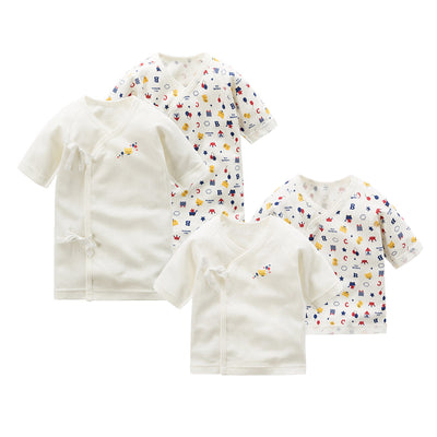 New Born Baby Short Long Crown Bear Kimono Top Tie-side Shirt 2 Pack - Little Kooma