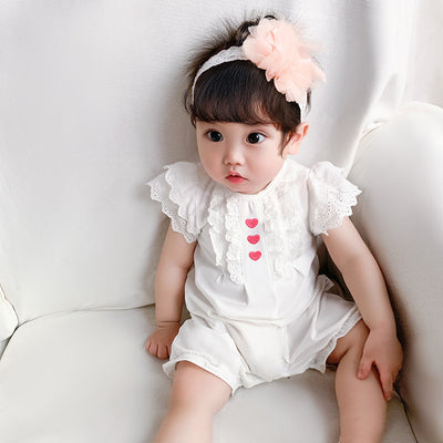 Baby Girl's White Lace Romper w Red Hearts - 1118 - Little Kooma