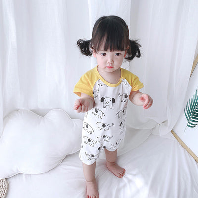 Baby Romper w Elephant Prints Splicing Sleeves - 0616 - Little Kooma