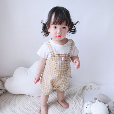 Baby Girl Fake Two Pieces Overall Plaid Romper - 0616 - Little Kooma