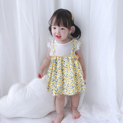 Baby Girl Yellow Floral Ruffled Sleeves Fake Two Pieces Overall Bodysuit Dress - 1118 - Little Kooma