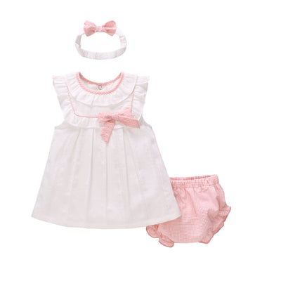 Baby Girl White Dress n Blue/Pink Knicker n Headwrap Set - 0611 - Little Kooma