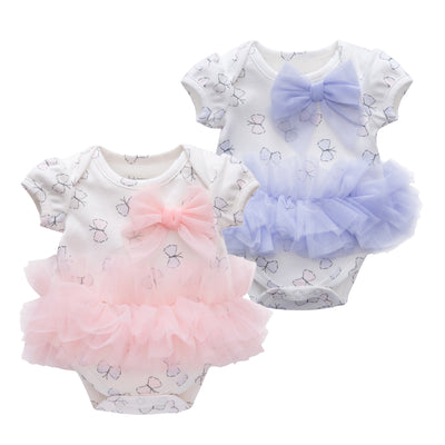 Baby Girl Butterfly Tutu Bodysuit w Big Bowtie - 0521 - Little Kooma