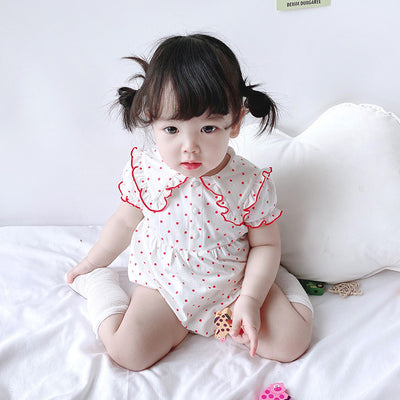 Baby Girl Agaric Trim Cuff Collar Dotted Bodysuit - 0616 - Little Kooma