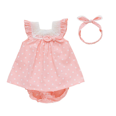 Baby Girl Pink w White Dots Dress n Knicker n Headwrap Set - 0611 - Little Kooma