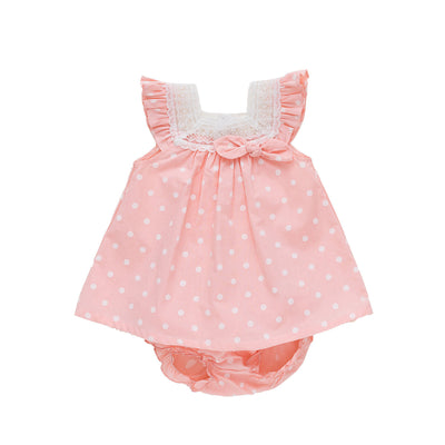 Baby Girl Pink w White Dots Dress n Knicker Set - Little Kooma