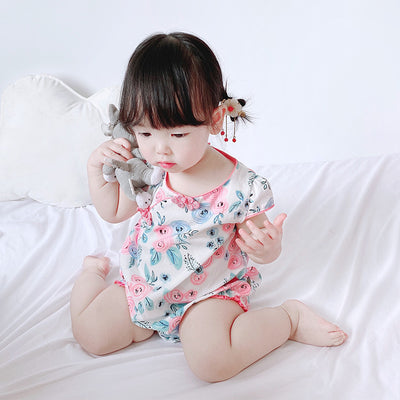 Baby Cheongsam Bodysuit w Flower Prints - 0616 - Little Kooma
