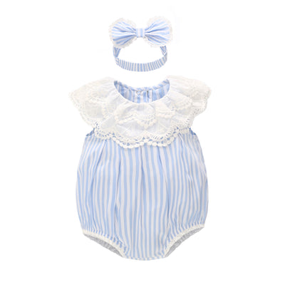 Baby Girl Blue Striped Lace Bodysuit n Headwrap 2 Piece Set - 0521 - Little Kooma