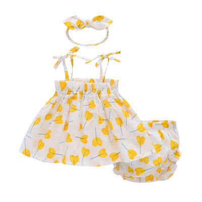 Baby Girl Camisole Top n Knickers n Headwrap 3 Piece Set - 0521 - Little Kooma
