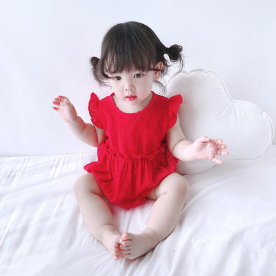 Baby Girl Ruffled Sleeves Plain Color Bodysuit - 0616 - Little Kooma