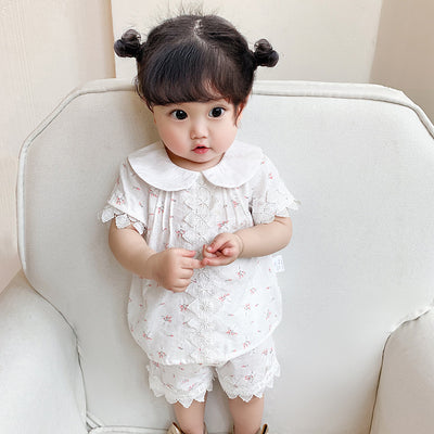 Baby Girl's Collar Lace Top n Shorts w Flowers 2 Piece Set - 0524 - Little Kooma