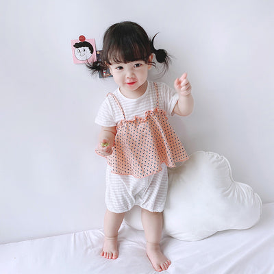 Baby Girl Fake Two Pieces Dotted Camisole Top Romper - 0616 - Little Kooma