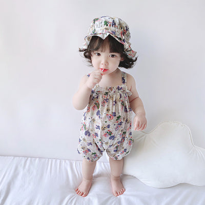Baby Girl Flowers Cami Romper n Hat Set - 0616 - Little Kooma