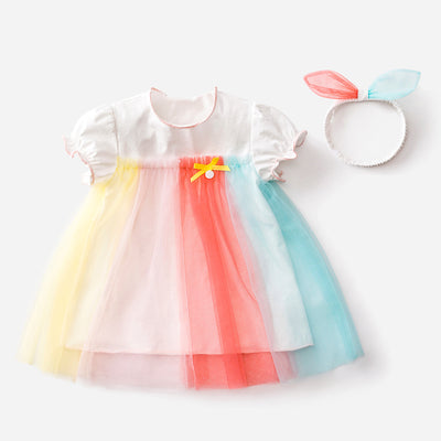Baby Girl Bodysuit Dress Kids Girl Rainbow Voile Dress n Headwrap 2 Piece Set - 0521 - Little Kooma