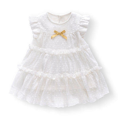 Baby Girl White Lace Dress w Yellow Bowtie - 0611 - Little Kooma