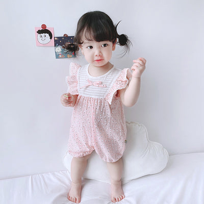 Baby Girl Little White Flowers Ruffled Sleeves Splicing Romper - 0616 - Little Kooma